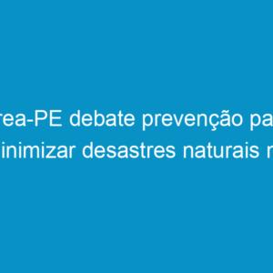 Crea-PE debate prevenção para minimizar desastres naturais no Estado