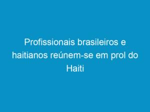 Read more about the article Profissionais brasileiros e haitianos reúnem-se em prol do Haiti