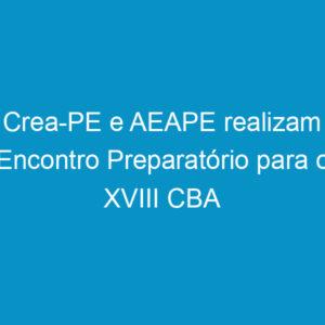 Crea-PE e AEAPE realizam Encontro Preparatório para o XVIII CBA