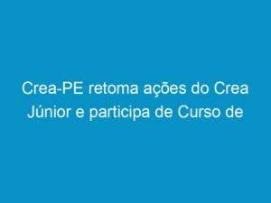Read more about the article Crea-PE retoma ações do Crea Júnior e participa de Curso de Formação promovido pelo Confea