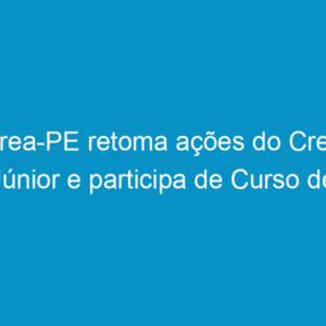 Crea-PE retoma ações do Crea Júnior e participa de Curso de Formação promovido pelo Confea