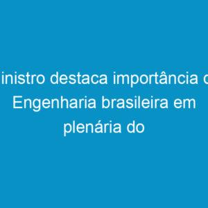 Ministro destaca importância da Engenharia brasileira em plenária do Confea