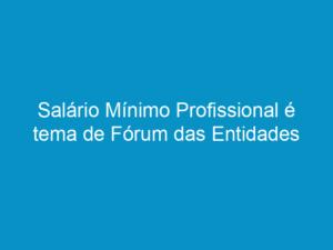 Read more about the article Salário Mínimo Profissional é tema de Fórum das Entidades