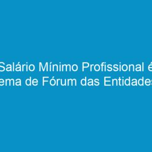 Salário Mínimo Profissional é tema de Fórum das Entidades