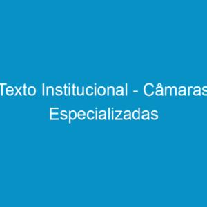 Texto Institucional – Câmaras Especializadas
