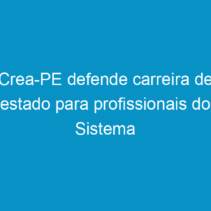Crea-PE defende carreira de estado para profissionais do Sistema