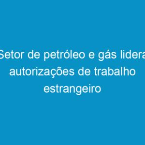 Setor de petróleo e gás lidera autorizações de trabalho estrangeiro