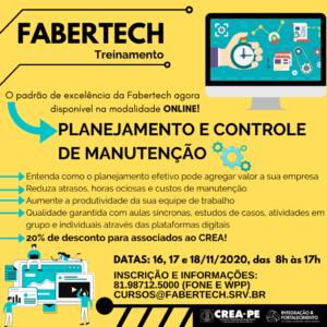 Parceira do Crea-PE oferece curso de PCM – Planejamento, Programação e Controle da Manutenção