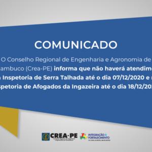 ATENÇÃO! Comunicado de Atendimento Inspetorias de Serra Talhada e Afogados da Ingazeira