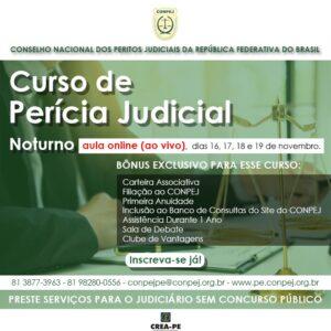 Curso de Perícia Judicial on-line e ao vivo – 16 a 19 de novembro