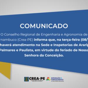 ATENÇÃO! Comunicado Atendimento Sede e Inspetorias de Araripina, Palmares e Paulista