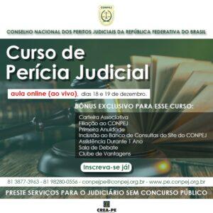 Curso de Perícia Judicial on-line e ao vivo – 18 e 19 de dezembro.