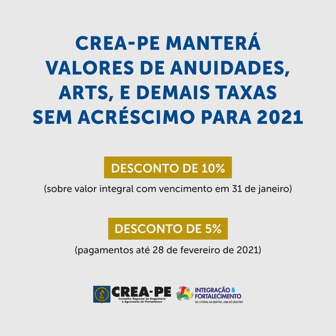 Read more about the article Crea-PE manterá valores de anuidades, ARTs, e demais taxas sem acréscimo para 2021