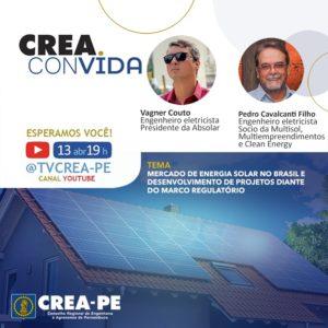 Crea convida aborda energia solar no Brasil nesta terça-feira