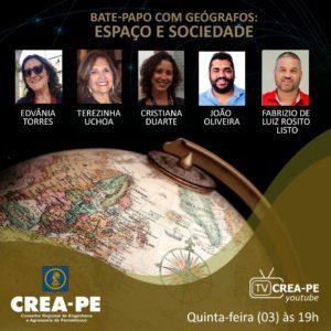 A importância da geografia no planejamento do País é tema de discussão em live na TV Crea-PE