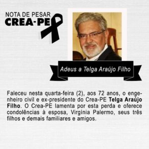 Telga Araújo, Ex-presidente do Crea-PE, falece nesta quarta-feira