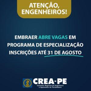 Read more about the article Embraer abre vaga para Programa de Especialização em Engenharia