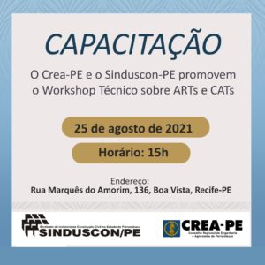 Read more about the article Workshop sobre ARTs e CATs promovido pelo Crea-PE e Sinduscon-PE acontece nesta quarta