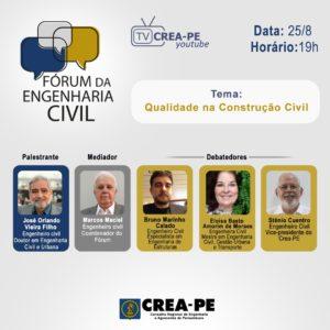 Qualidade na Construção Civil é o tema do encontro de Fórum desta quarta-feira (25)