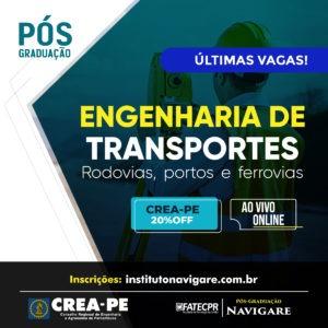 Read more about the article Inscrições Abertas! Pós em Engenharia de Transportes, Rodovias, Portos e Ferrovias – Instituto Navigare