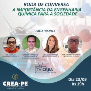 Read more about the article TV Crea-PE transmite debate sobre a importância da engenharia química para sociedade